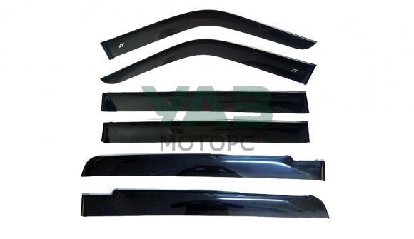 Дефлекторы на окна широкие (комплект 6 штук / с накладками на окна багажника) Уаз Патриот, 3162 (Kobra Tuning)