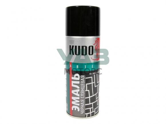 Краска черная глянцевая (аэрозоль / универсальная) 520 мл. (Kudo / KU-1002)