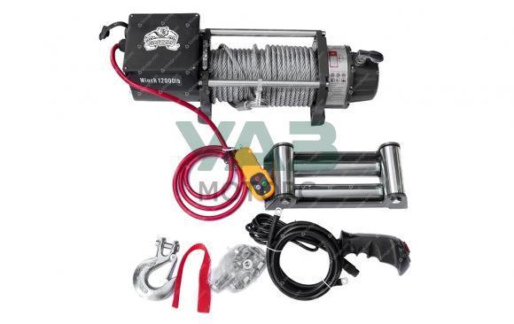 Лебедка электрическа Electric Winch Grizzly (12V / 5443 кг / металлический трос / дистанционный пульт)