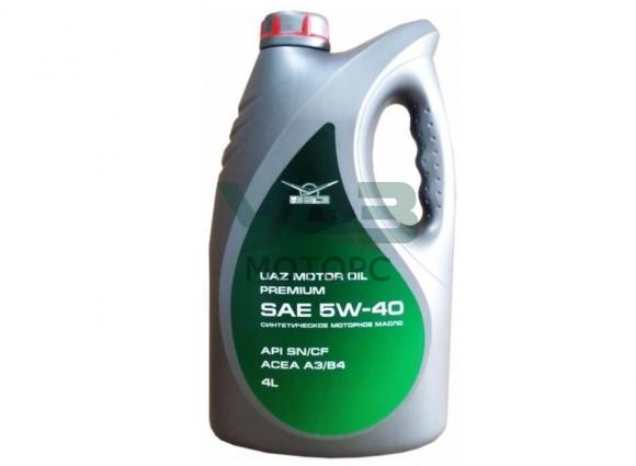 Масло моторное Уаз Motor oil premium 5W-40, синтетика (4 литра) (ОАО УАЗ) 0001-01-0040540-02