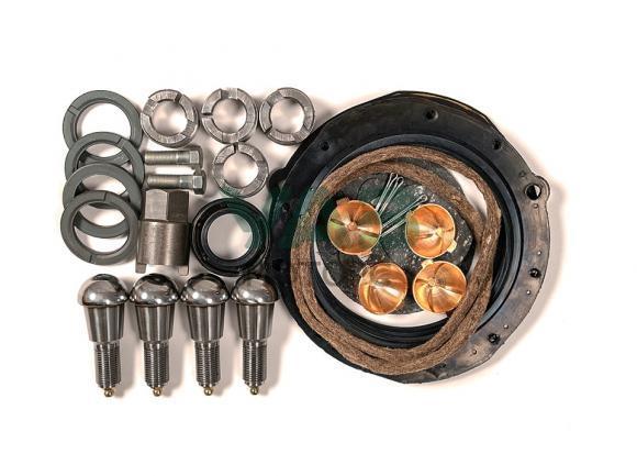 Ремкомплект шкворневого узла (полный комплект для замены / шкворни, прокладки, сальники) (мост спайсер, тимкен гибридный / нового образца) (Ваксойл Бийск) 3163-2304019-01